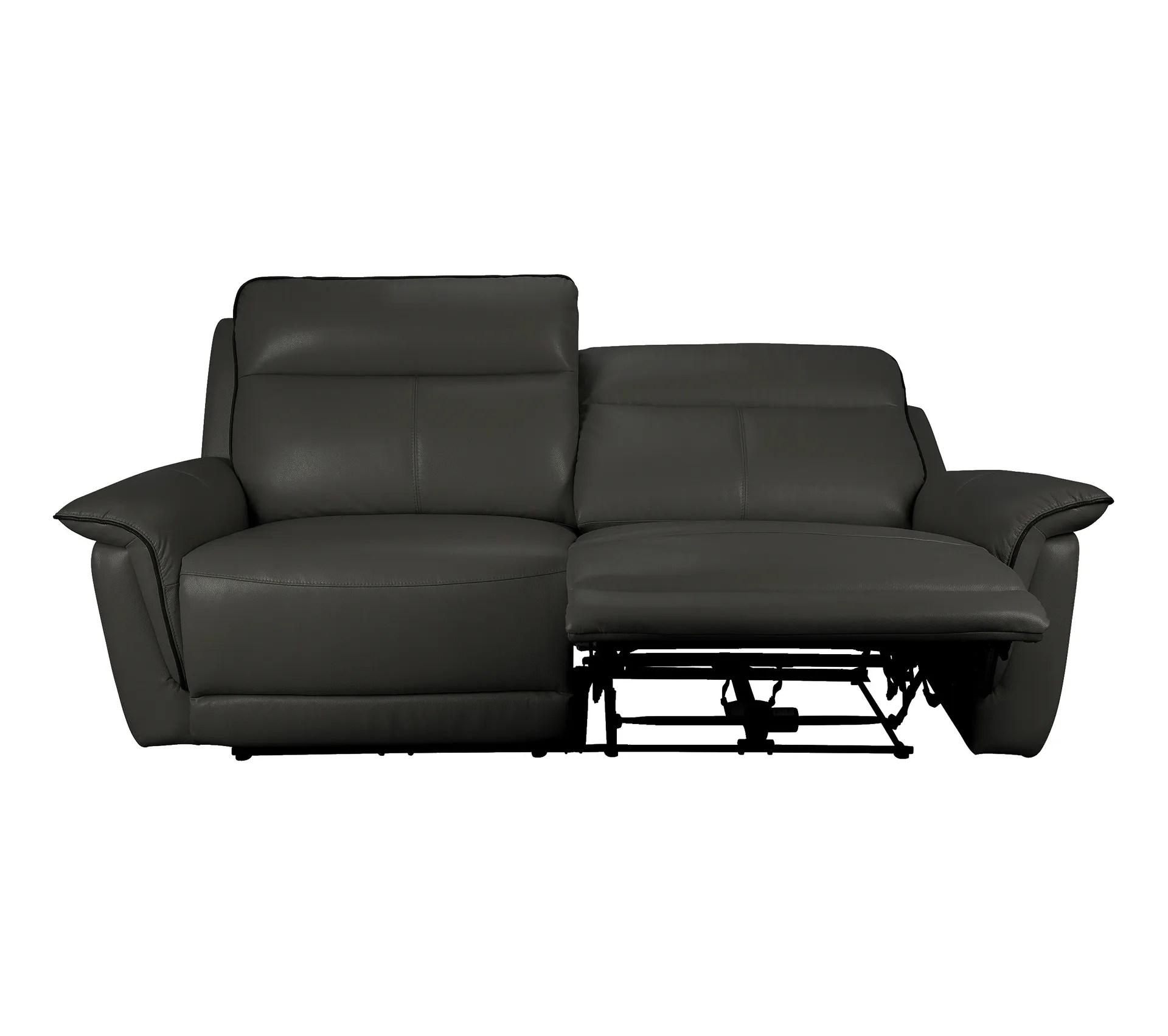 canape 3 places 2 relax electriques sundy cuir et pu gris fonce