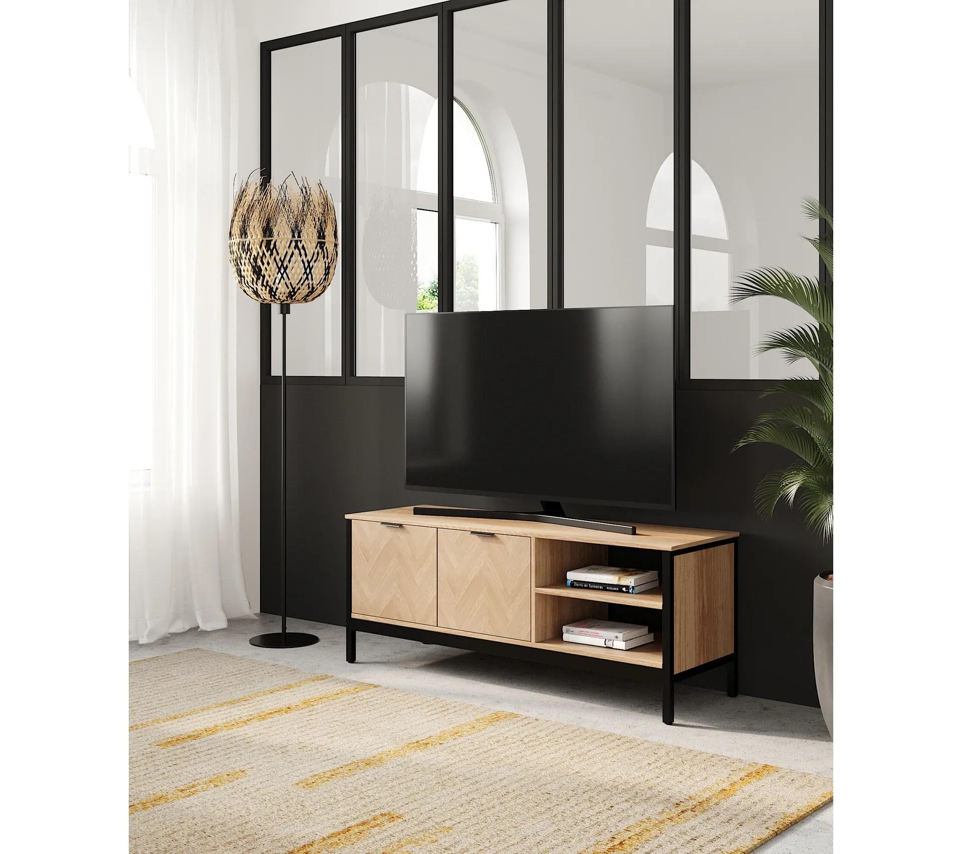 meuble tv omalley imitation chene et noir