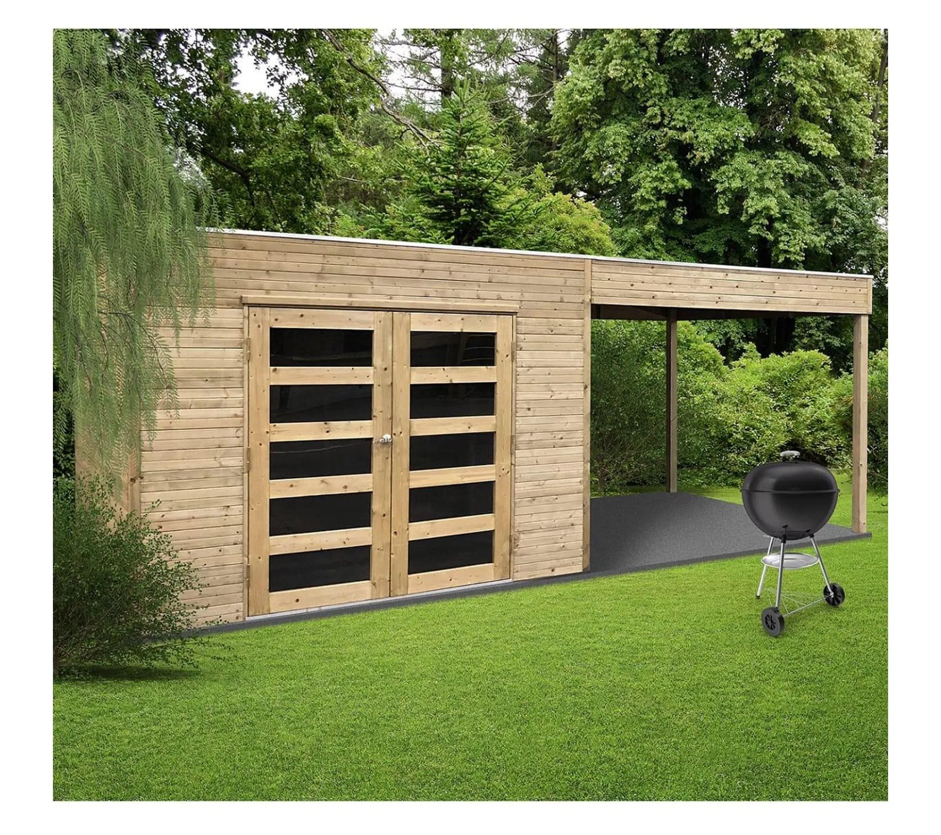 abri de jardin en bois traite autoclave avec terrasse laterale salerno 5 40 m