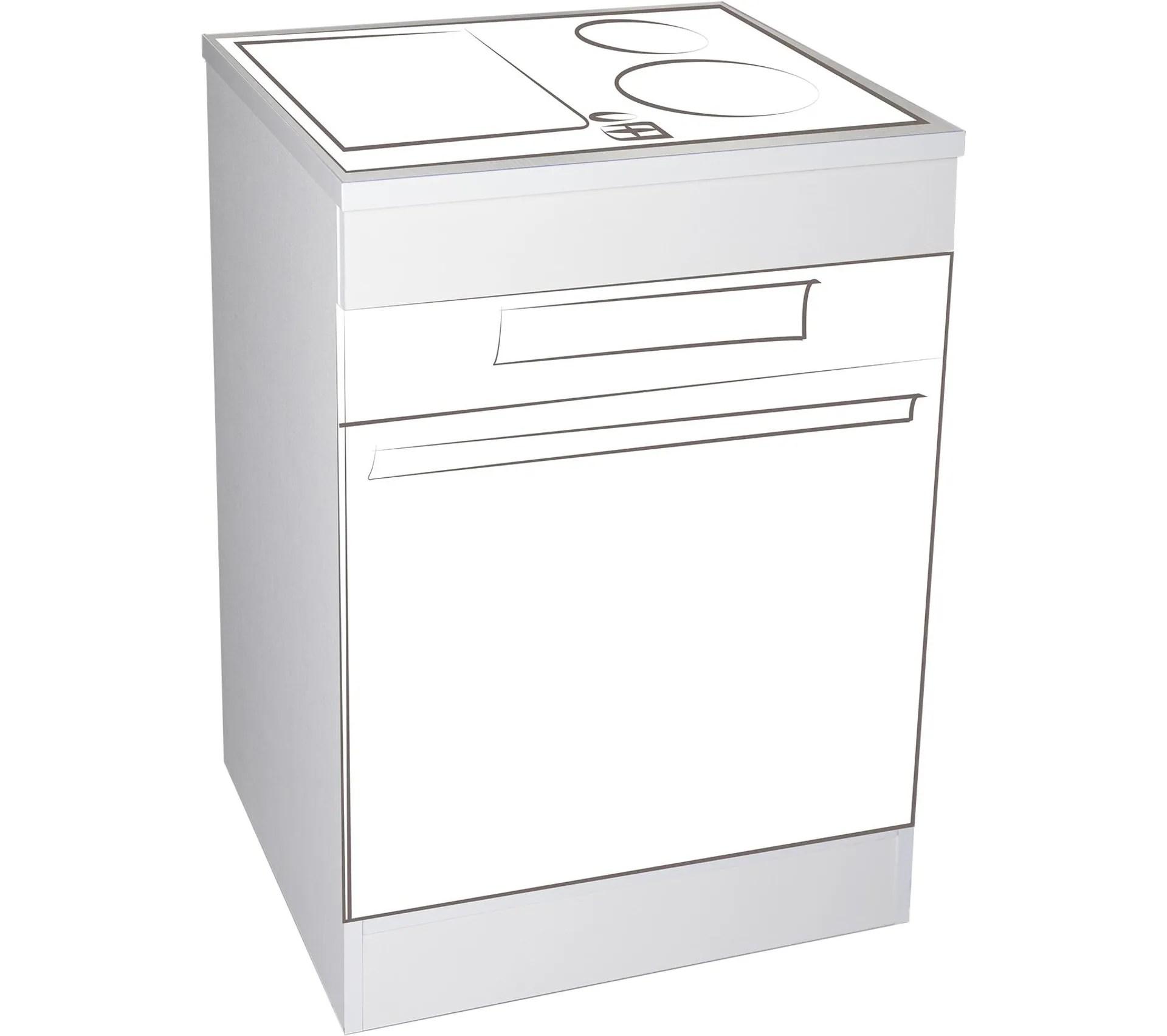 meuble bas de cuisine 60 cm blanc pour plaque et four mpf60 b