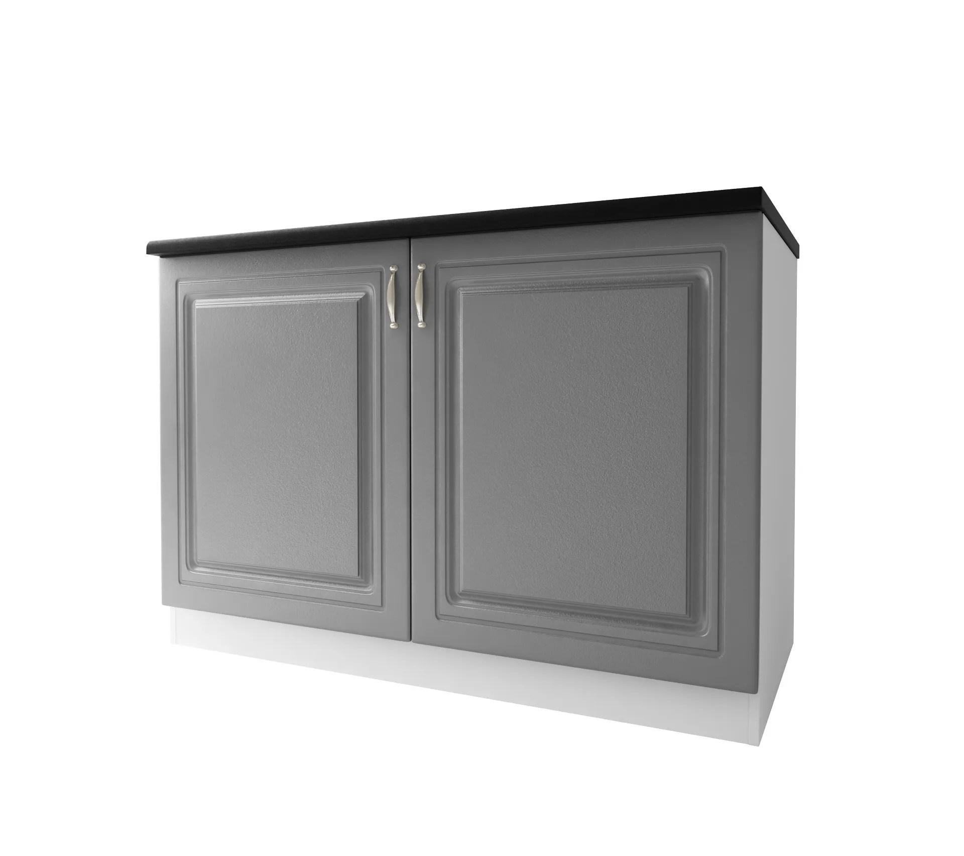 meuble de cuisine bas 2 portes 120 cm dina en melamine avec 1 etagere gris