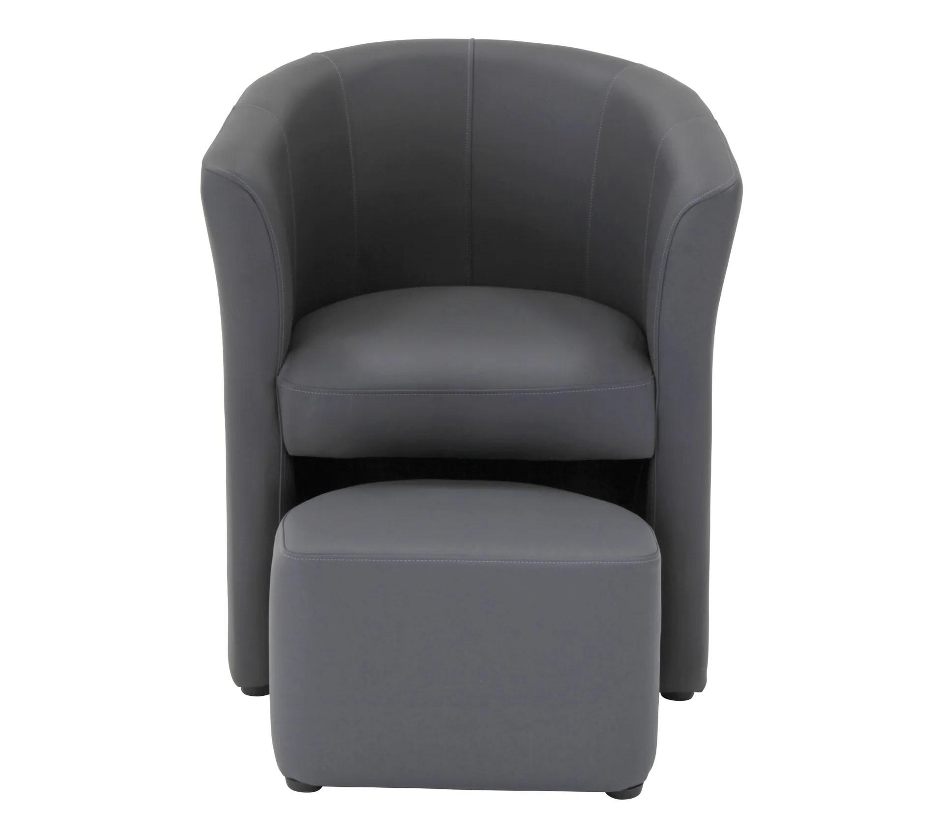 fauteuil cabriolet et pouf clayton pu gris anthracite