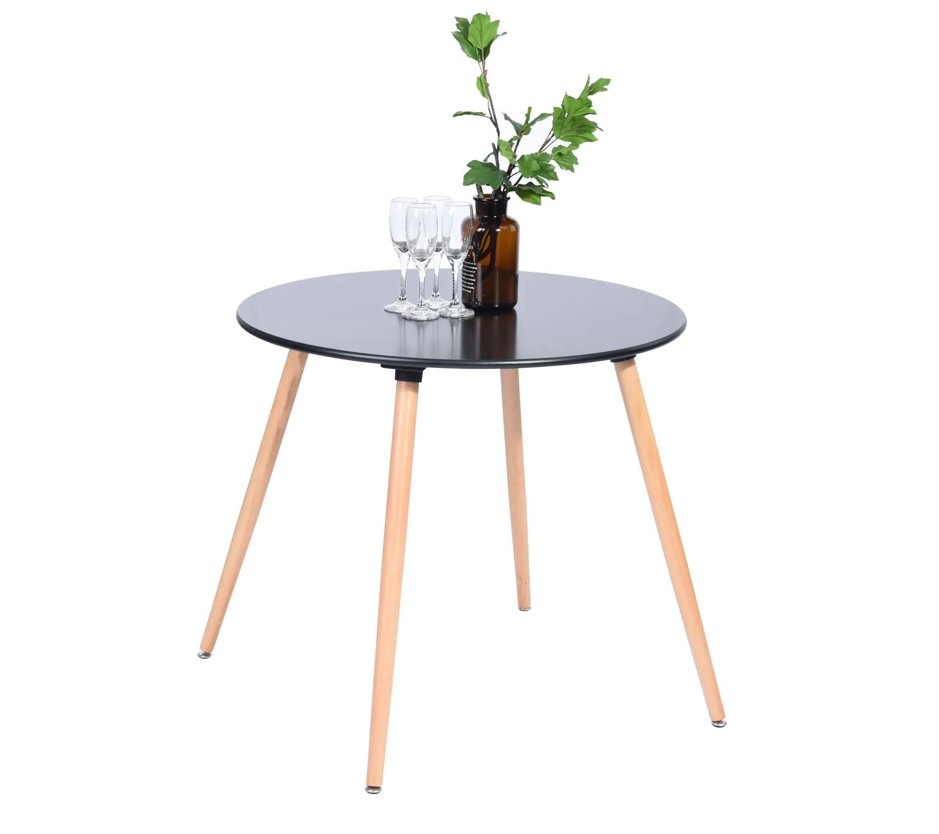 table a manger noire 4 places ronde bois 80 80 scandinave
