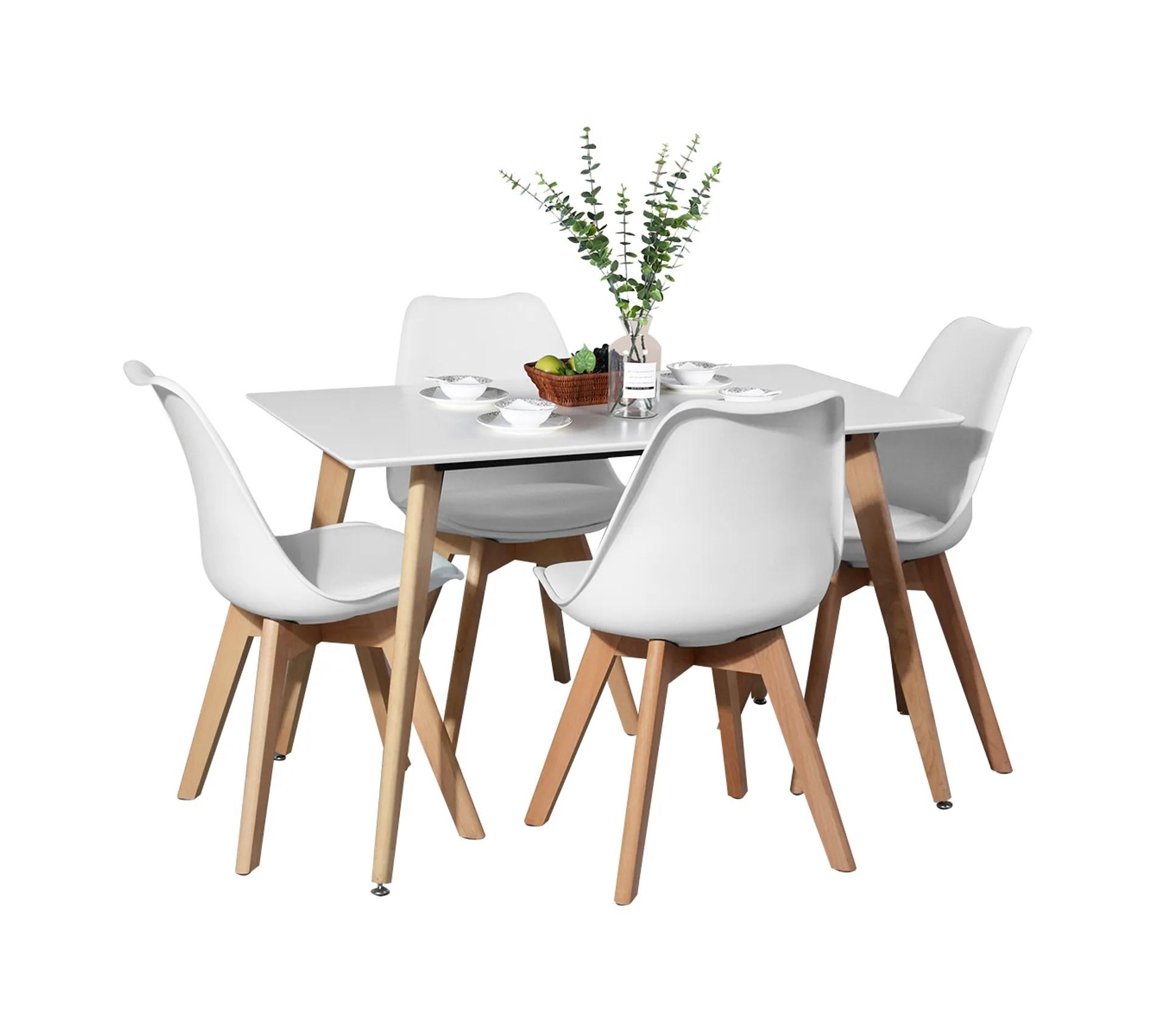 ensemble table a manger rectangulaire 110 70 et 4 chaises tapisse scandinave blanc bois