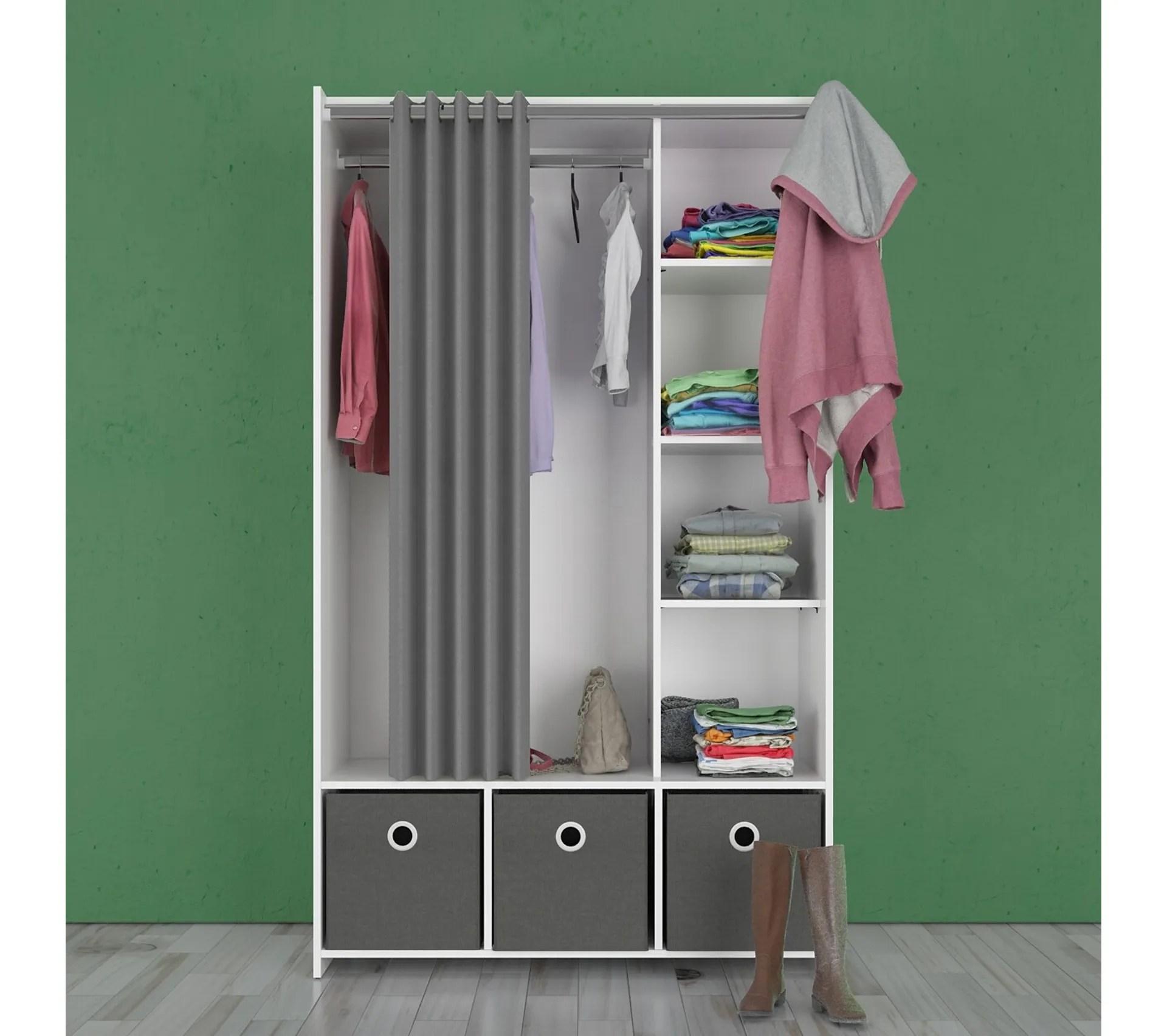 kit dressing avec rideau gris l 105 cm optimal blanc