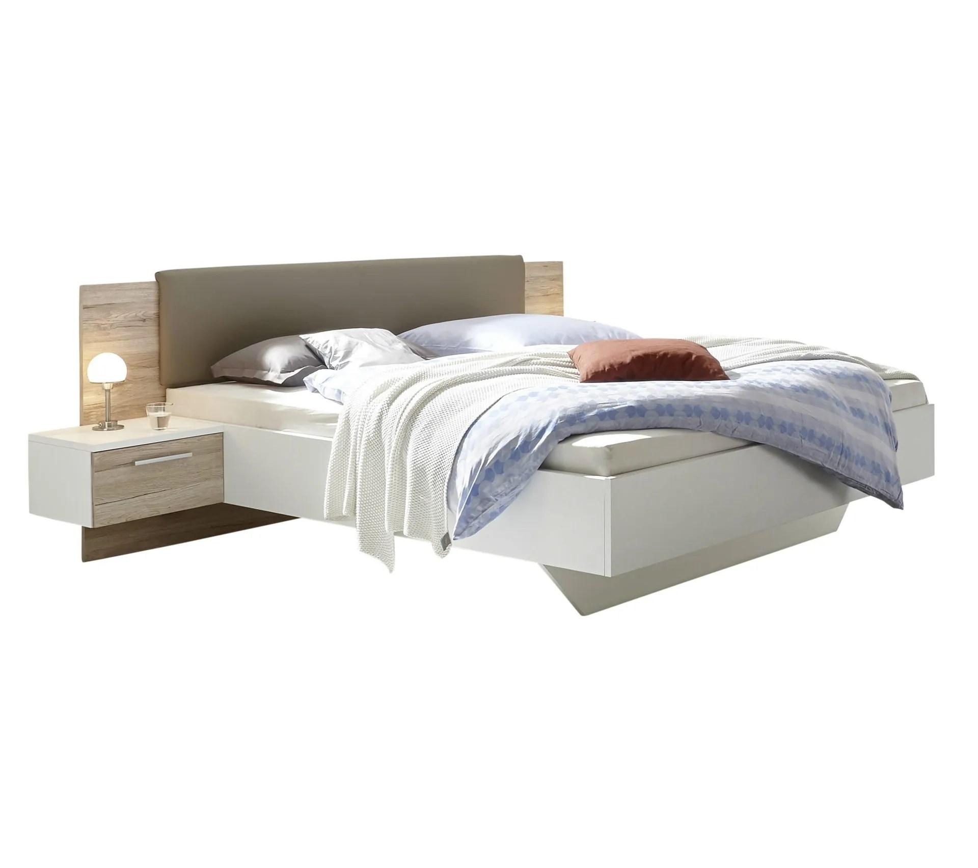 lit 140x190 cm avec chevets suspendus gravita imitation chene et blanc