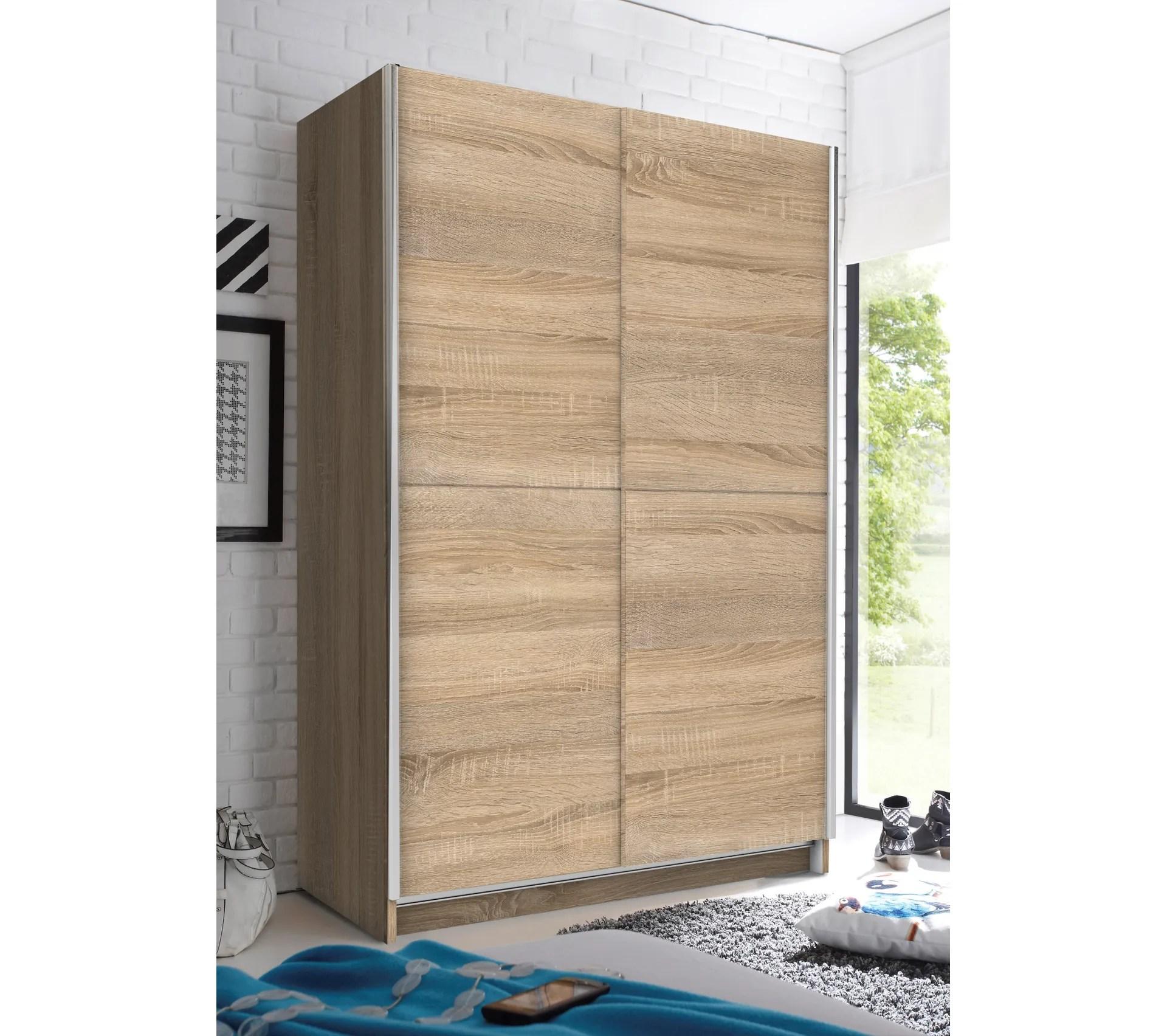 armoire 2 portes coulissantes l 125 cm fast imitation chene