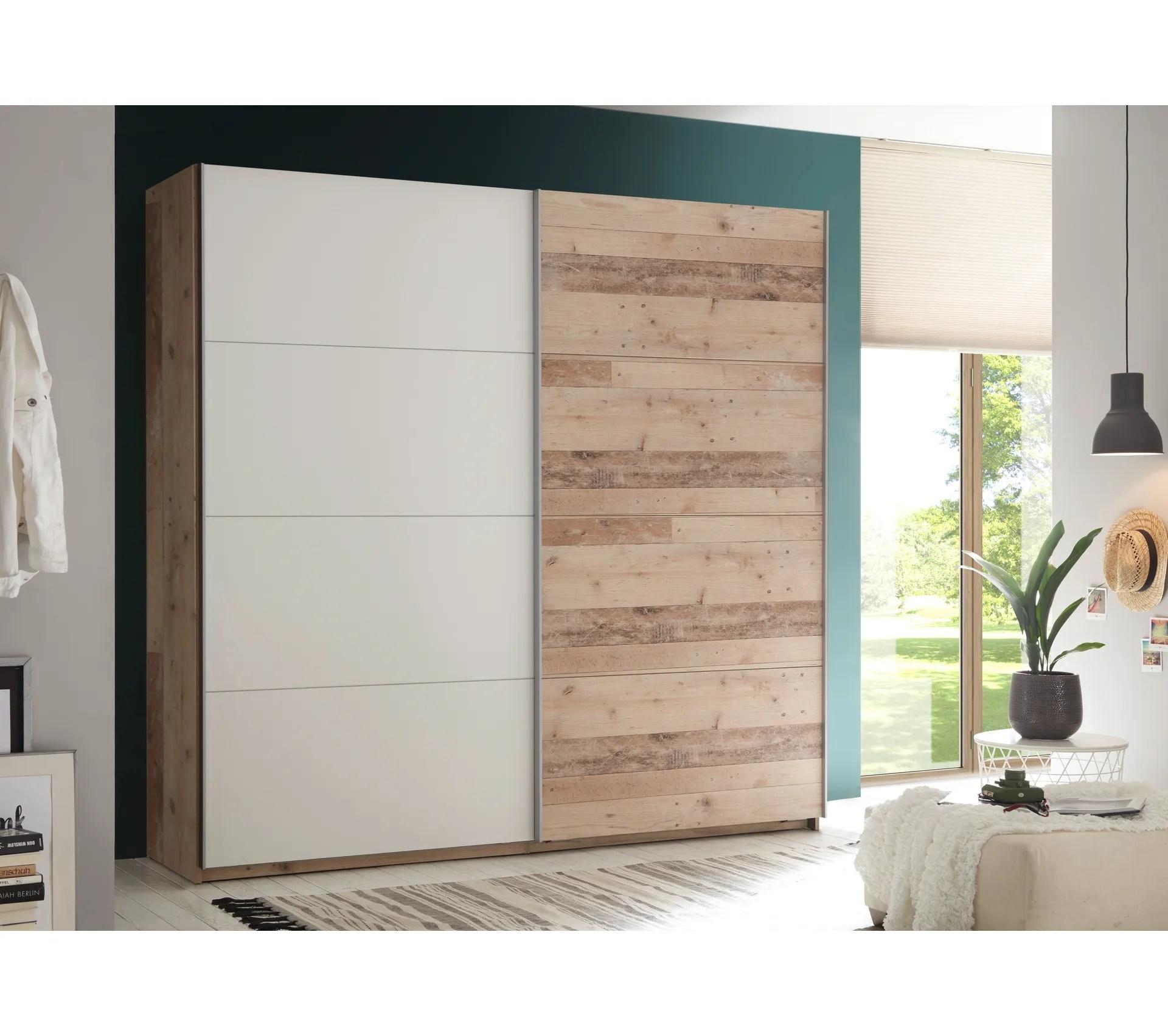 armoire 2 portes coulissantes avec une double penderie sala imitation bois et blanc