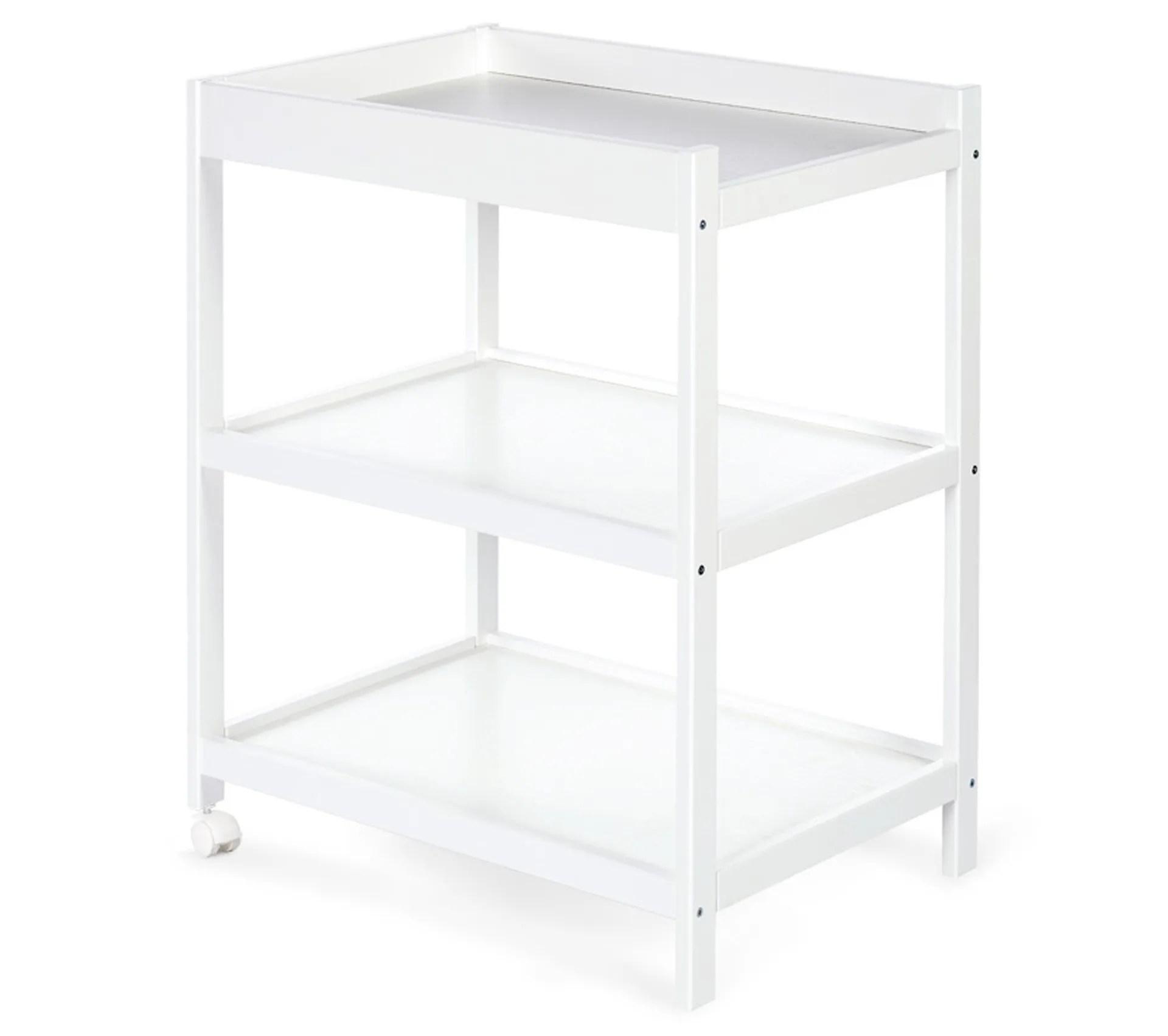 emma table a langer en bois avec etageres blanc