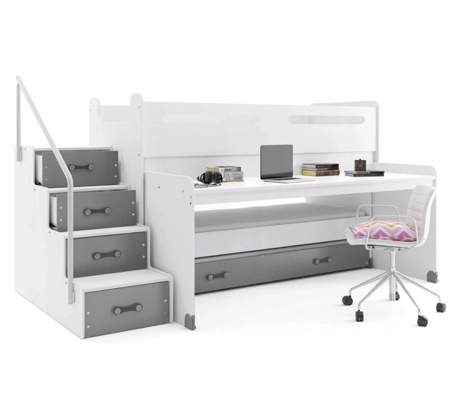lit enfant avec bureau max 1 avec 3 couchages 200x80 190x80 180x80 en blanc gris