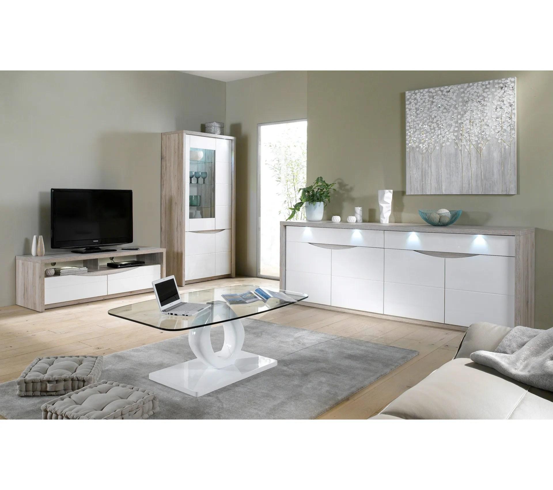 meuble tv st tropez blanc chene