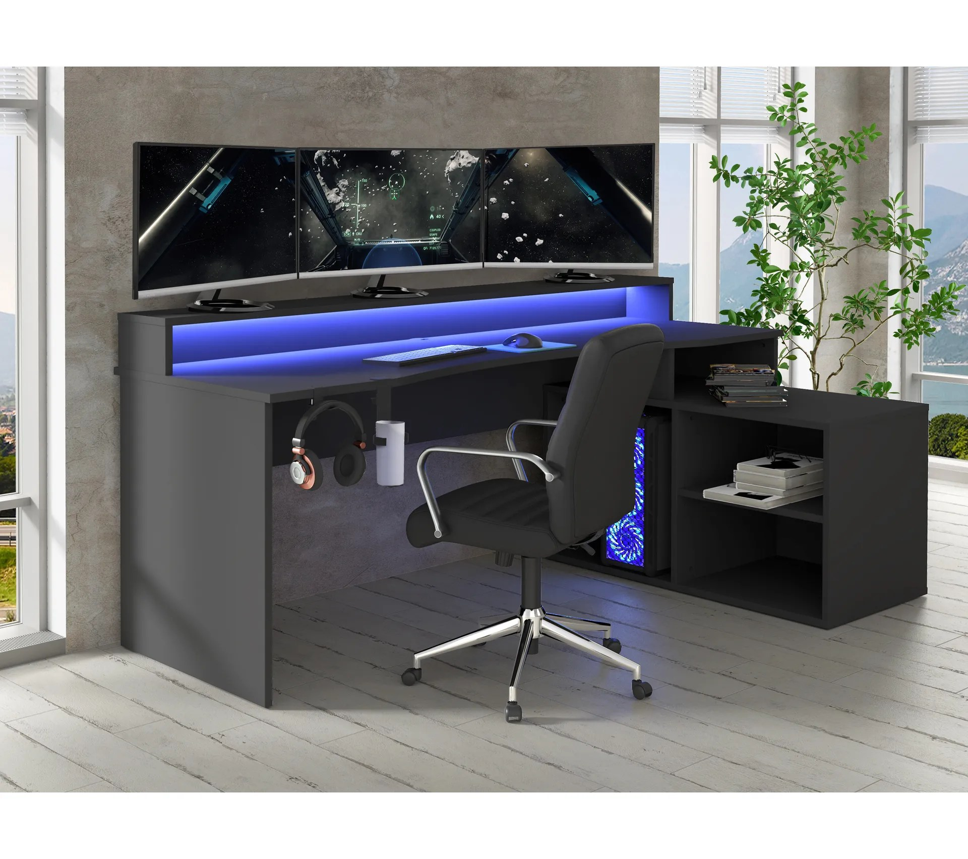 bureau gamer avec led bxgaming maximus noir