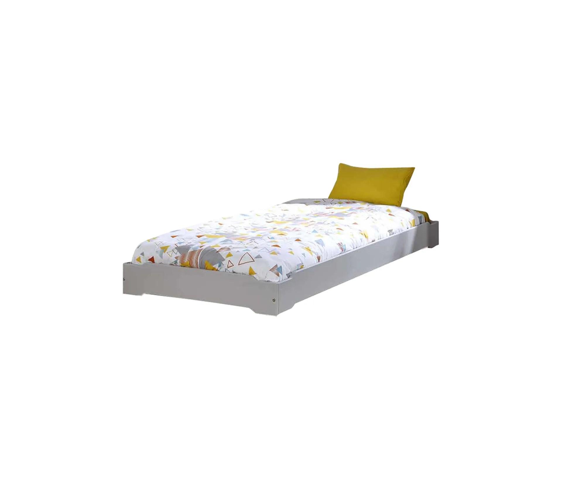 pack lit enfant empilable avec sommier et matelas berry gris clair 90x190 cm