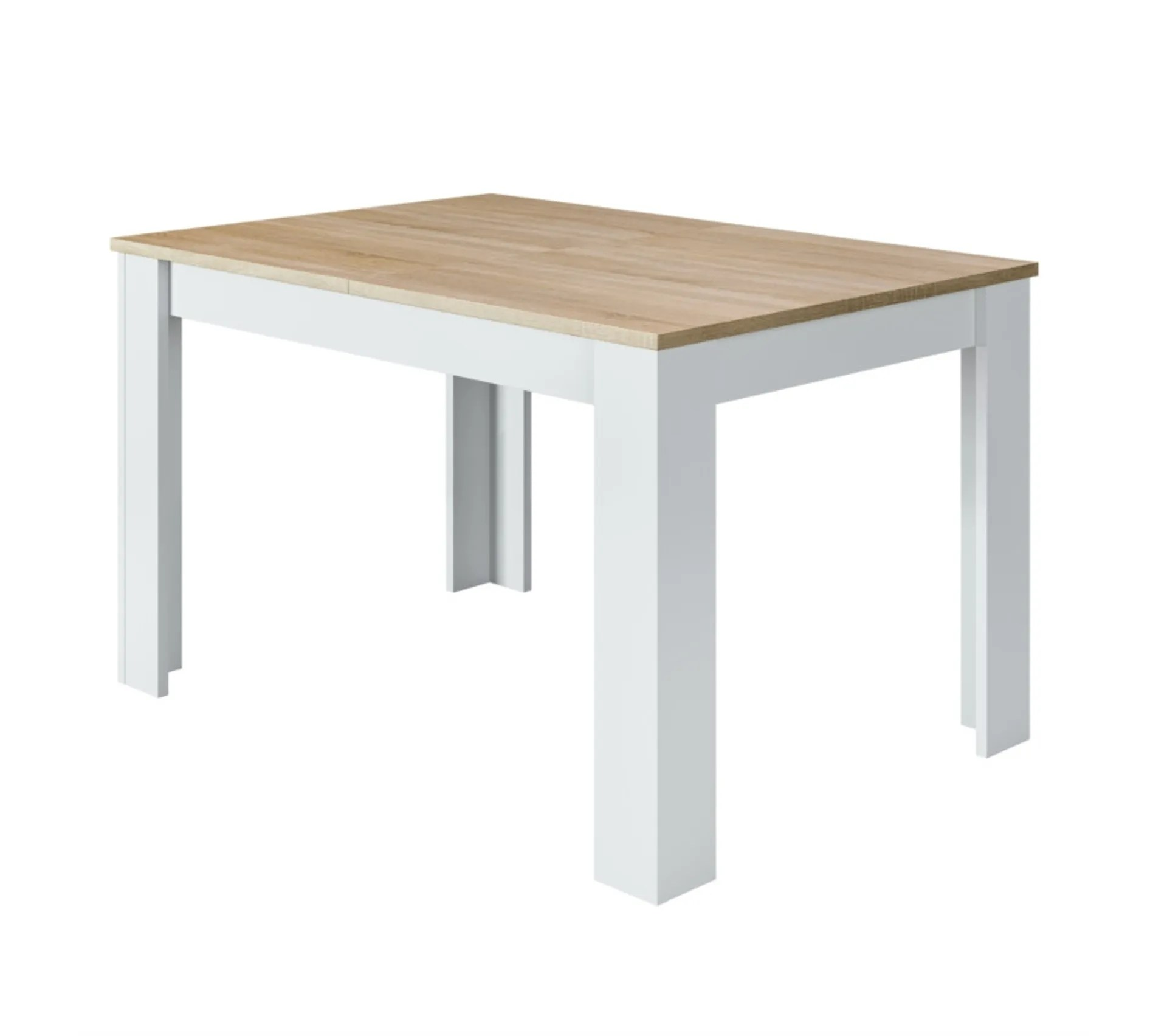 table a manger extensible kenda 6 a 8 personnes scandinave blanc brillant et decor chene