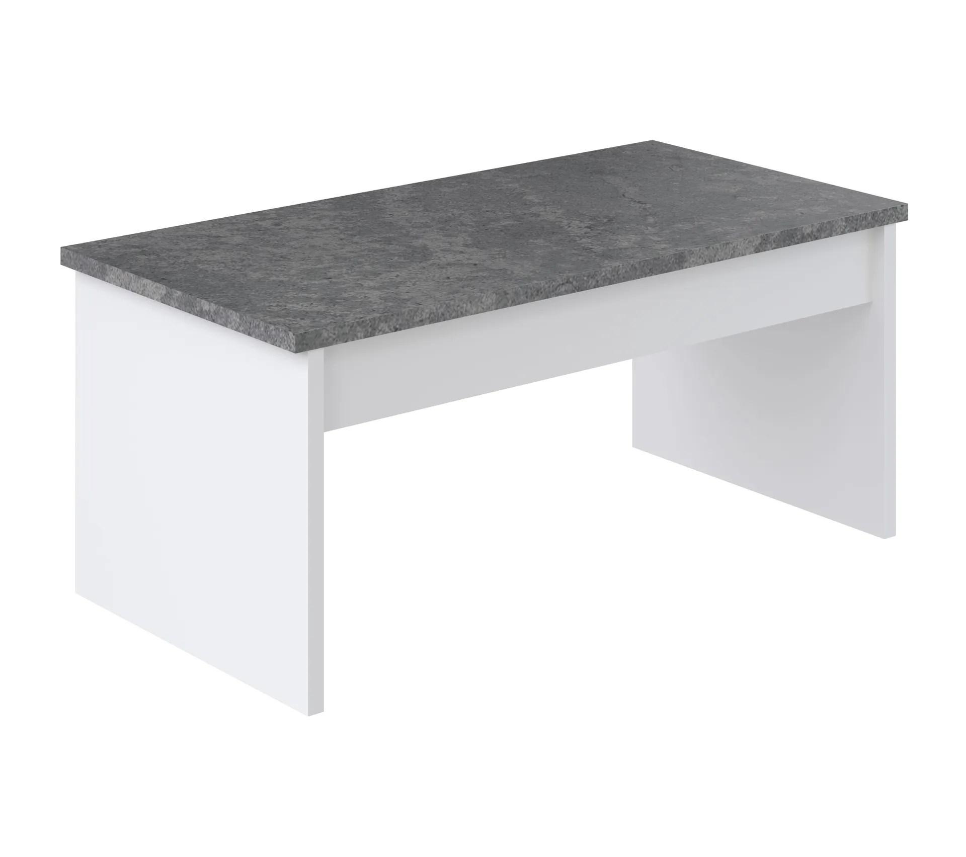 table basse plateau relevable yana blanc et imitation beton