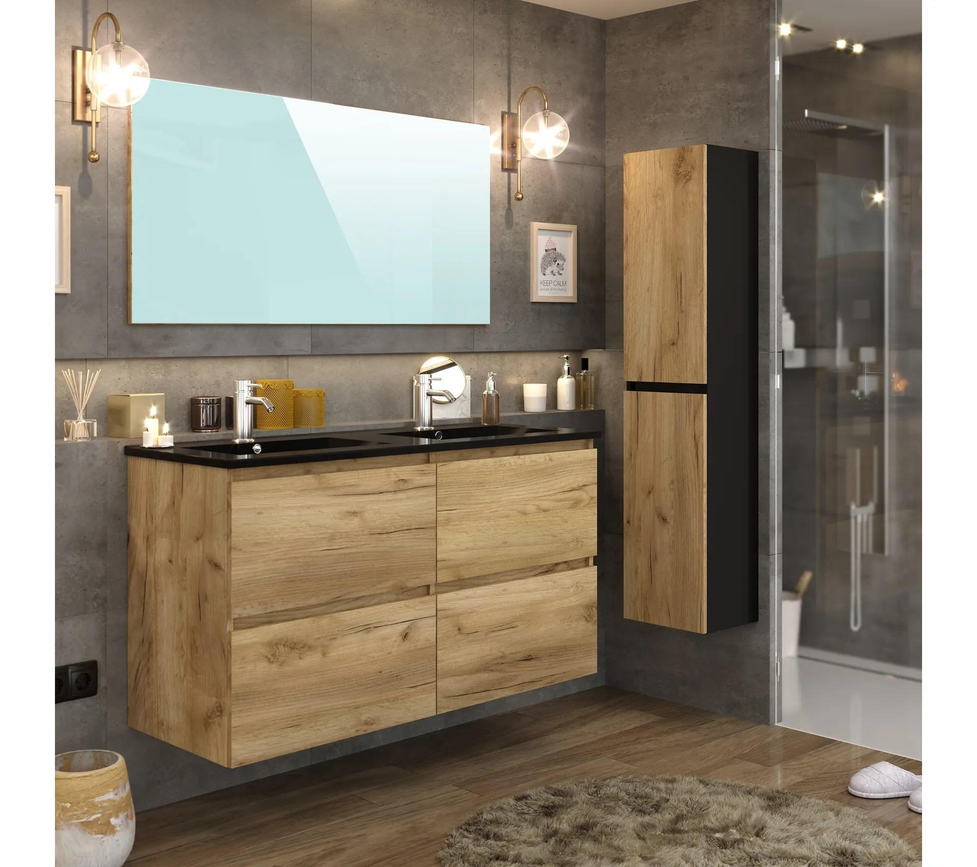 colonne de salle de bain galapagos imitation chene brut et noir