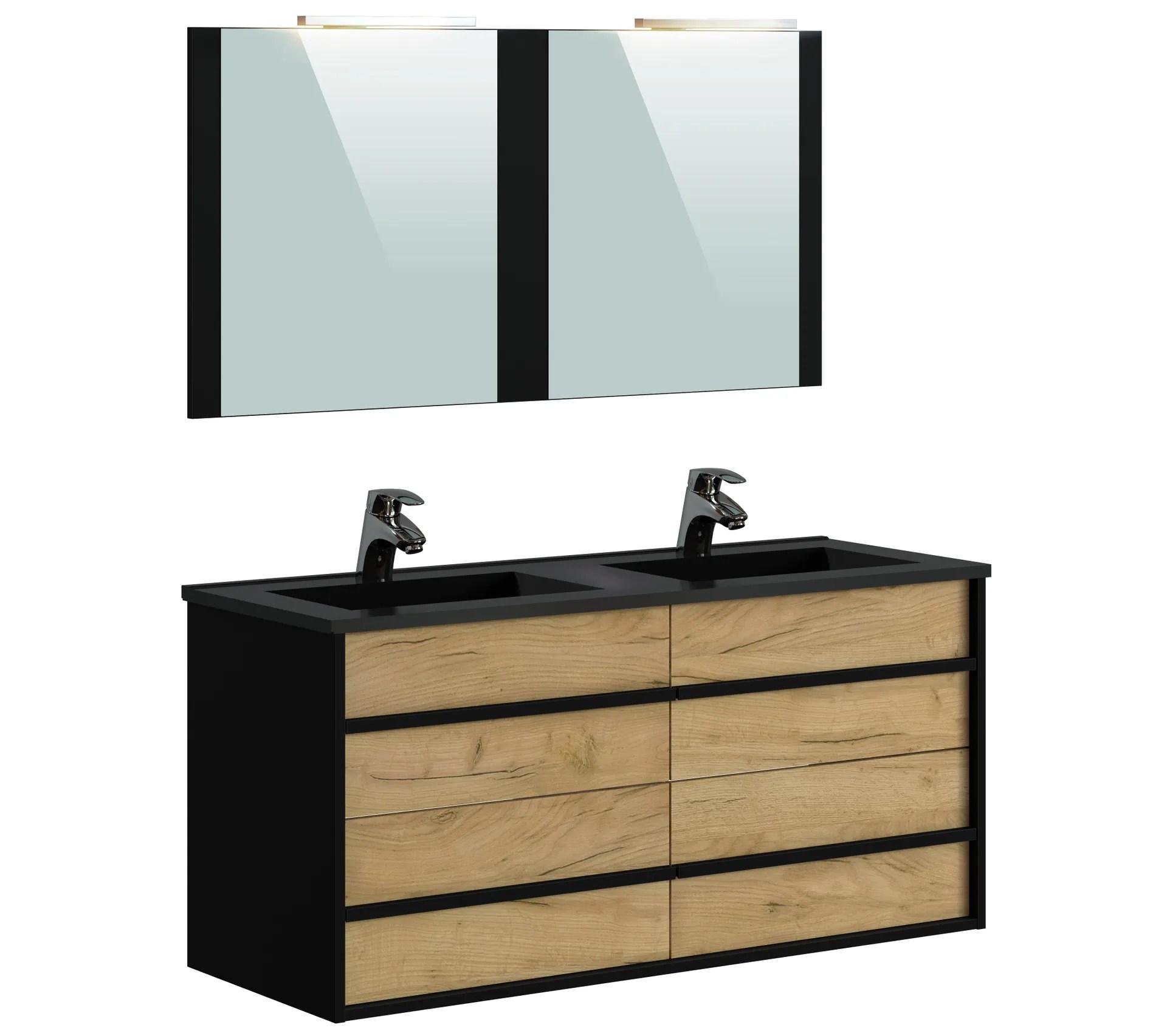 meuble de salle de bain 120 cm koh tao imitation chene brut et noir