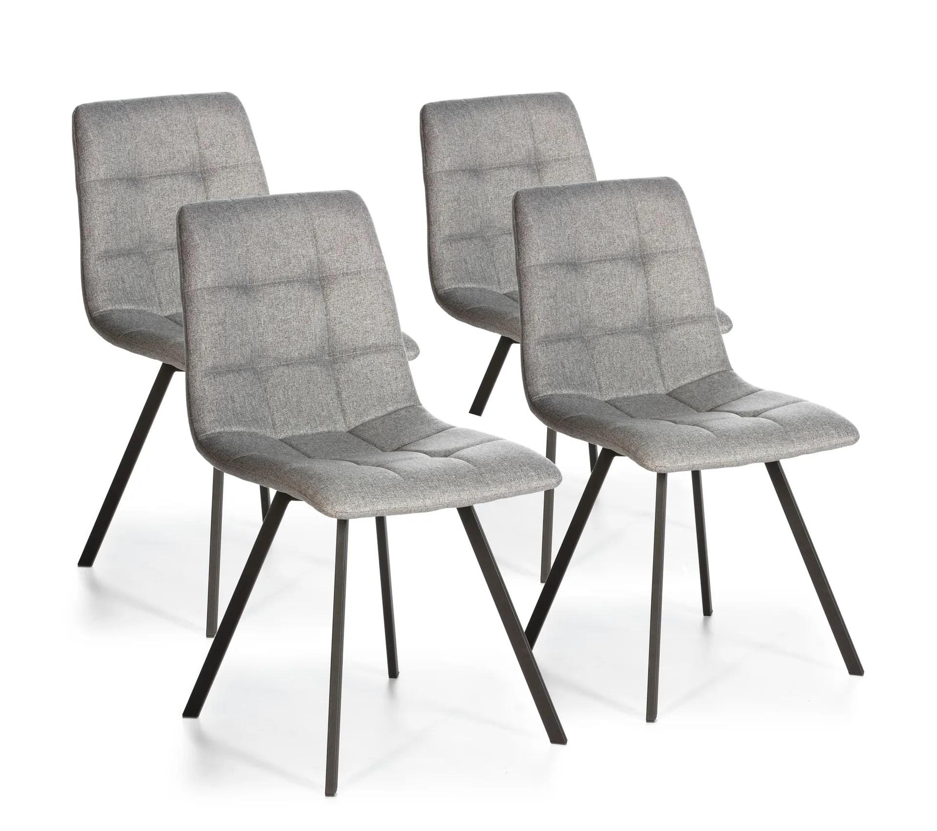 set de 4 chaises salle a manger mila tapissees grises claires