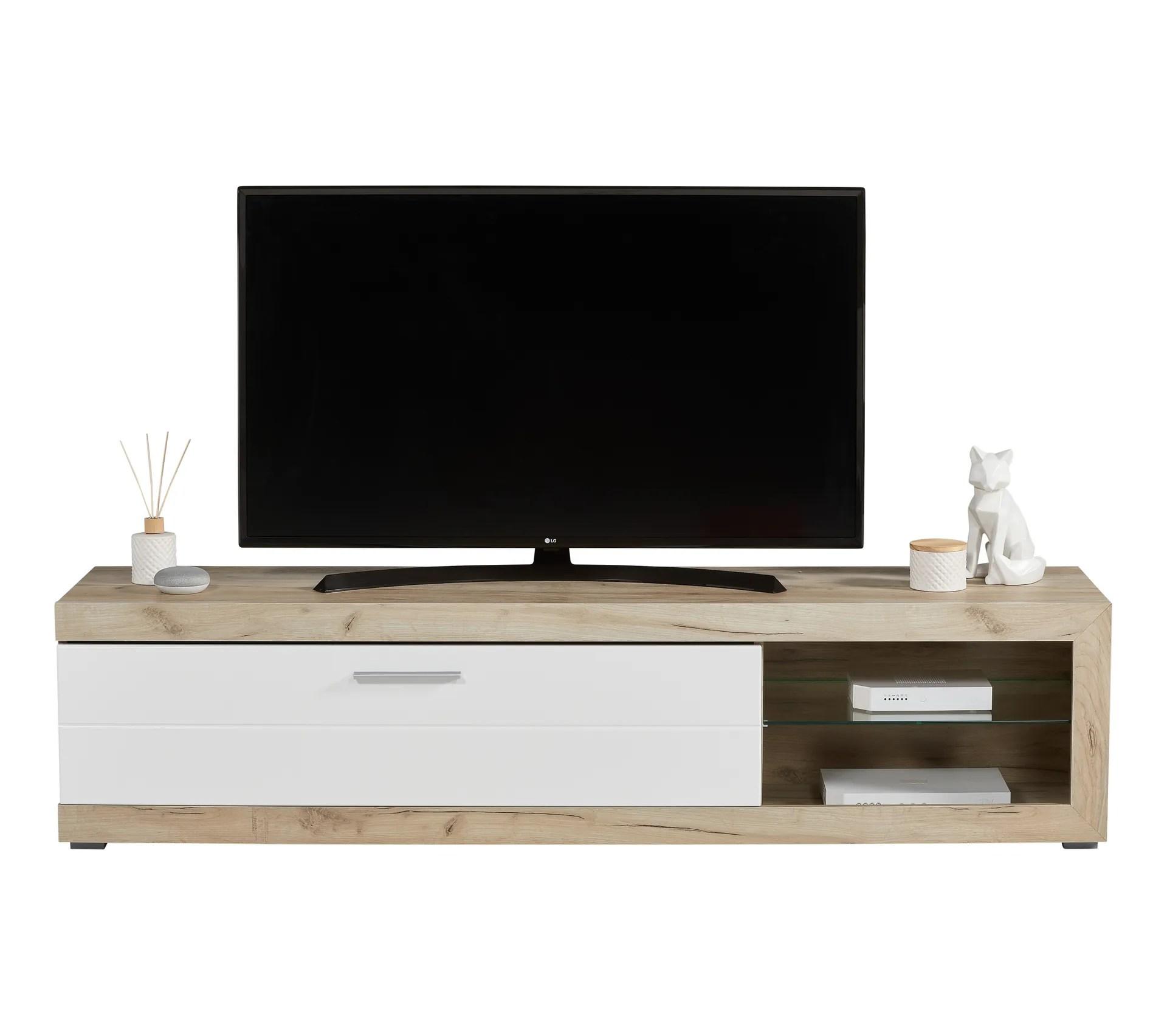 long meuble tv l 181 remo imitation chene gris blanc
