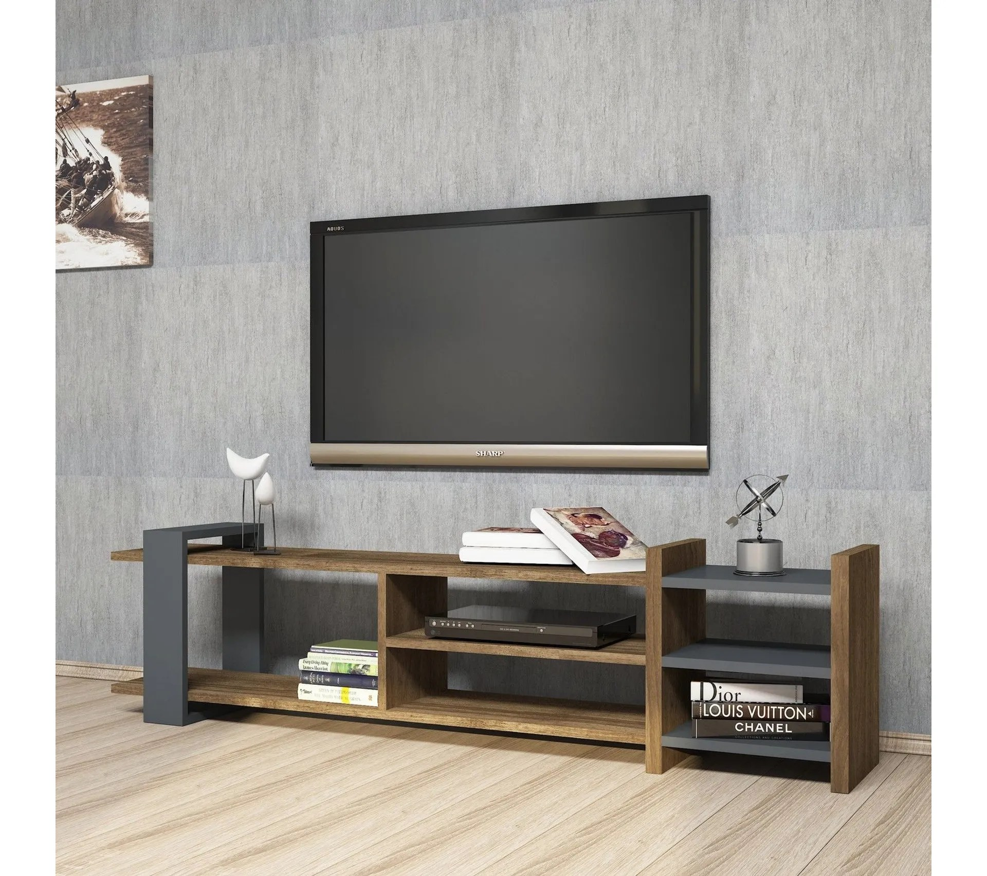 meuble tv design zeyna l 156 x h 40 cm gris anthracite