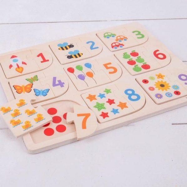 Träpussel bild och nummer
