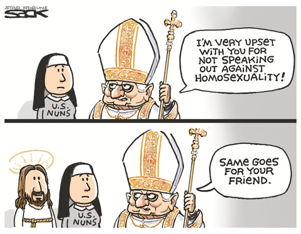 Pope Benedict XVI on homosexuality, cartoon