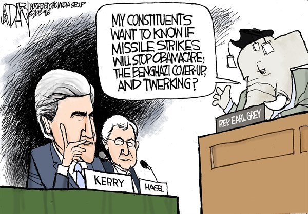 137059 600 Kerry grilled on Syria cartoons