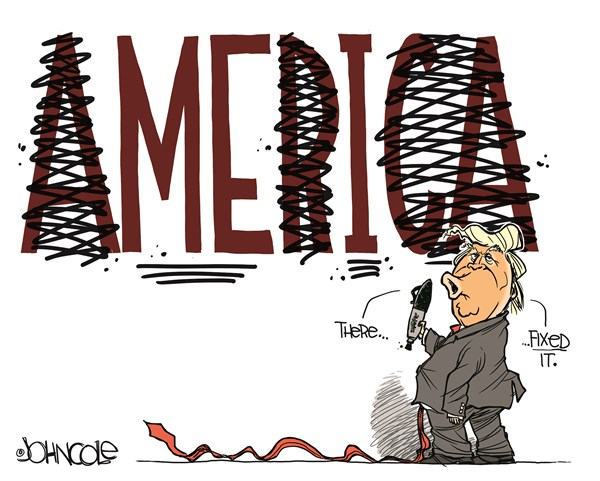 John Cole - PoliticalCartoons.com - the First Person - English - DONALD Trump, ego, I alone, presidency, narcissist, greed, corruption, self-dealing