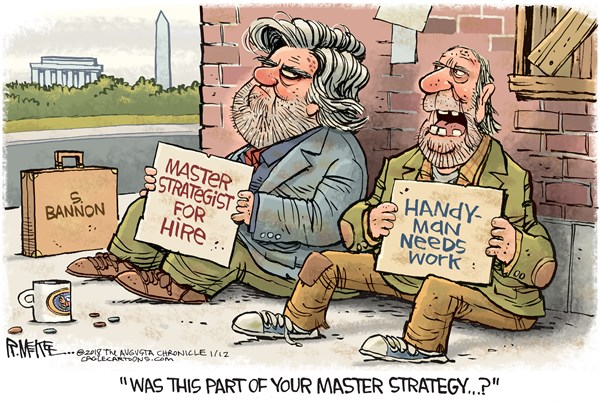 Bannon Out, Rick McKee,The Augusta Chronicle,Bannon, GOP, Breitbart, Trump, Wolff, Fire and Fury