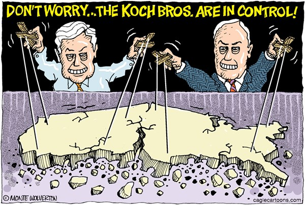 Image result for PHOTOS CARTOONS OF KOCH BROTHERS