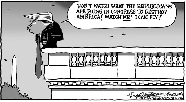 Bob Englehart - CagleCartoons.com - Trump Distractions - English - trump,washington,hearings,russia investigation,kislyak,putin,