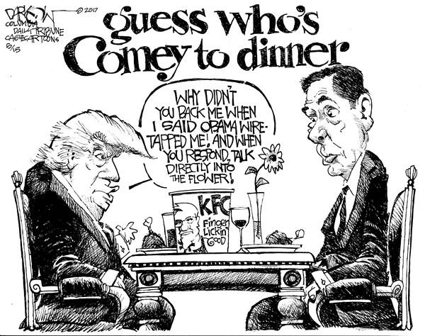 John Darkow - Columbia Daily Tribune, Missouri - Trump Comey Dinner - English - Donald Trump, James Comey, FBI, Comey Firing