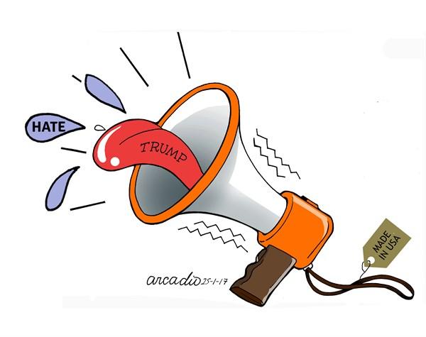 Arcadio Esquivel - Costa Rica, Caglecartoons.com - The tone of Trump - English - Trump, Politics, USA, US Gov`t, Republicans, Mexico