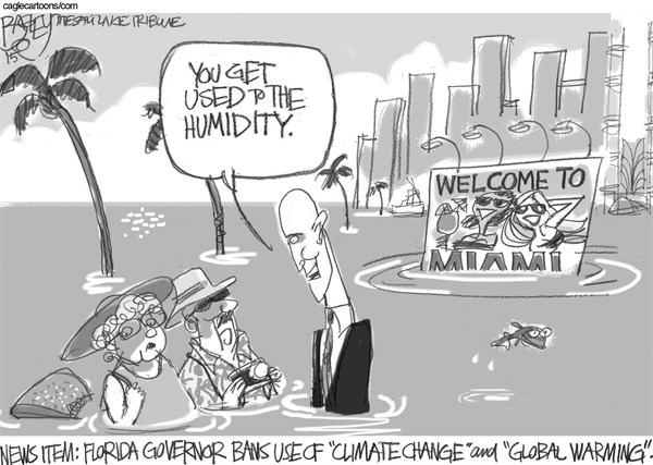 Pat Bagley - Salt Lake Tribune - Florida Climate - English - Climate Change, Global Warming, Florida, GOP, Denial, Rick Scott, Sea Levels, Rising Sea Levels, Flooding, Catastrophe, Catastrophic, Denialism
