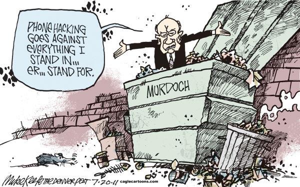 Cartoon about the Rupert Murdoch phone hacking scandal