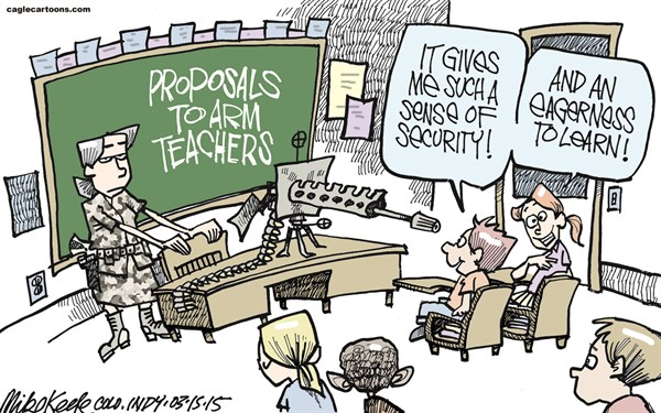 Mike Keefe - Cagle Cartoons - Guns in Classroom COLOR - English - arms; guns; concealed; carry; guns; classroom; teachers; school; colorado; legislature; shooting; columbine; neville