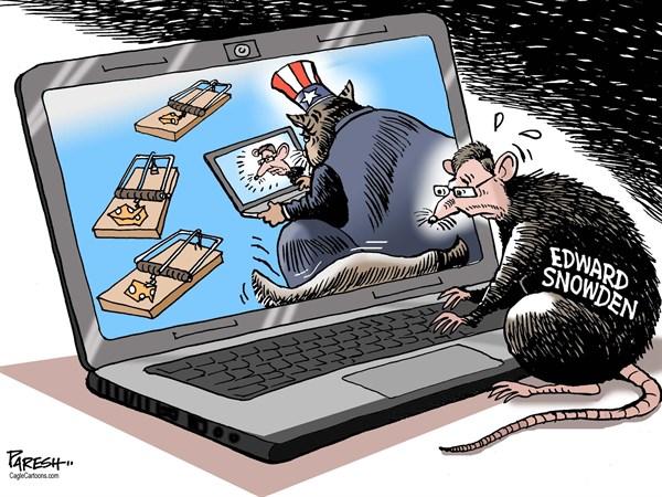Paresh Nath - The Khaleej Times, UAE - Snowden & Uncle Sam COLOR - English - Edward Snowden,CIA contractor,fugitive,mouse,rat chasing,Cat Uncle Sam,mouse trap,Snowden escape