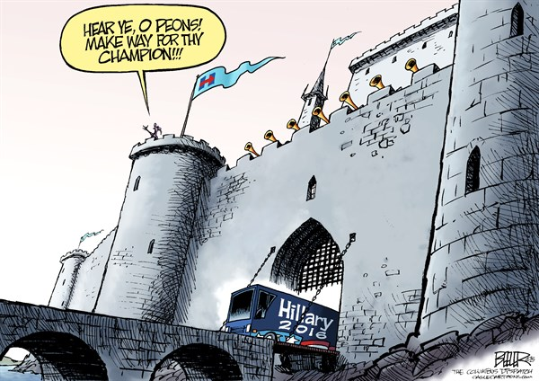 Nate Beeler - The Columbus Dispatch - Hillary the Champion COLOR - English - hillary clinton, peons, campaign, 2016, president, bus, castle, champion, democrat, democratic, party, candidate, nomination, politics