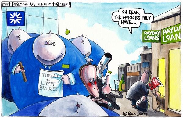 Threat to RBS bankers' bonuses, cartoon