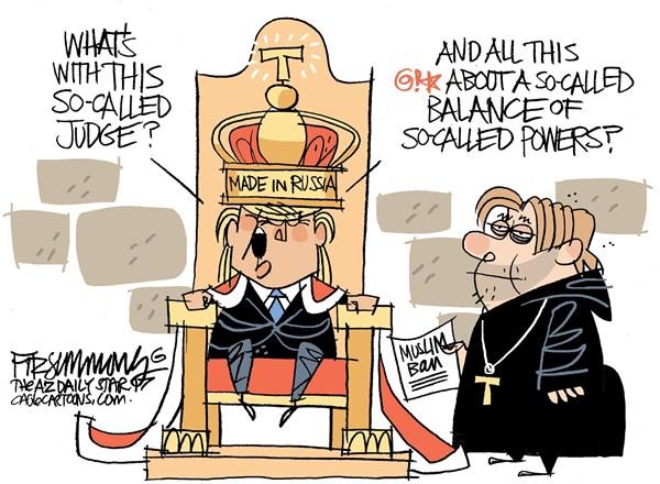 David Fitzsimmons - The Arizona Star - KIng Trump - English - Trump, muslim ban