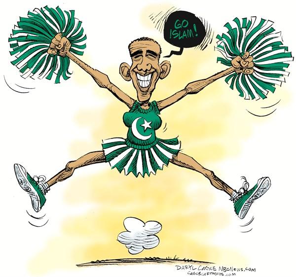 Go Islam © Daryl Cagle,MSNBC.com,Barack ObamIslam,Pakistan flag,star and crescent,Go Islam,muslim,Arab,Libya