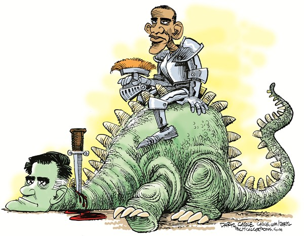 Obama Wins © Daryl Cagle,CagleCartoons.com,Mitt Romney, Barack Obama,President,campaign 2012,dragon,knight,armor,armour