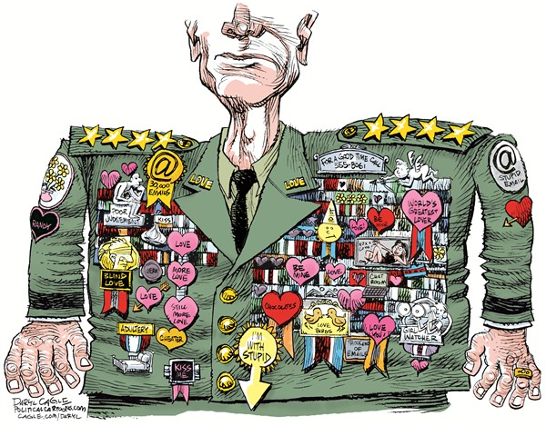 Love General © Daryl Cagle,CagleCartoons.com,General David Petreaus, General John R. Allen, army, CIA, Paula Broadwell, medals, awards, uniform