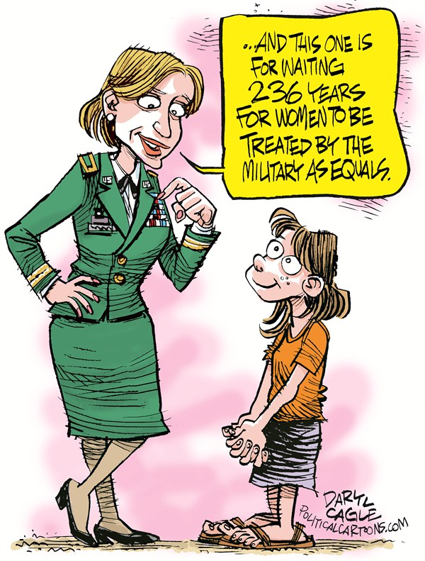 Women in Combat © Daryl Cagle,CagleCartoons.com,Army,air force,navy,marine corps,military,Secretary of Defence Leon Panetta,women,medals.children,equal rights,women in combat