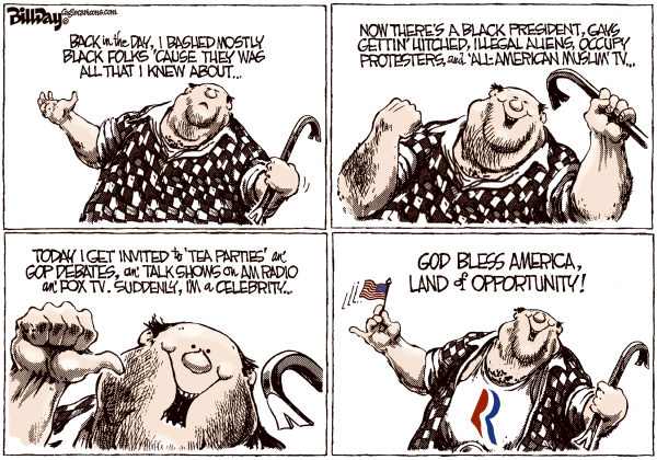 Land of Opportunity © Bill Day,Cagle Cartoons,Romney, racism, Tea Party, GOP