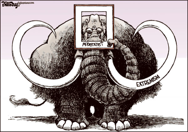 The BIG Picture © Bill Day,Cagle Cartoons,GOP,extremism,woolly mammoth