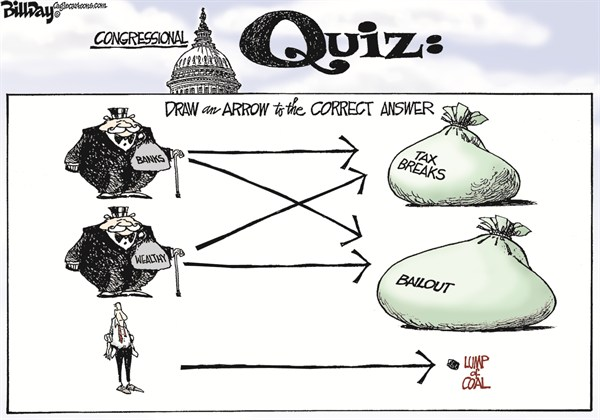 GENIUS IQ TEST © Bill Day,Cagle Cartoons,tax breaks,wealthy,banks,fiscal cliff, obama taxes