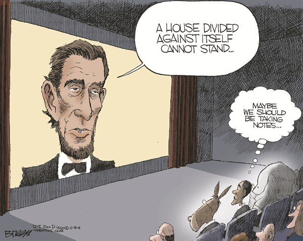 House Divided © Steve Breen,The San Diego Union Tribune,lincoln,house,divided,lincoln