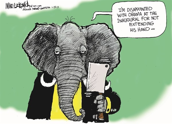 Obamas Inauguration © Mike Luckovich,The Atlanta Journal Constitution,inauguration,gop,obama,obama-and-republicans,obama-inauguration