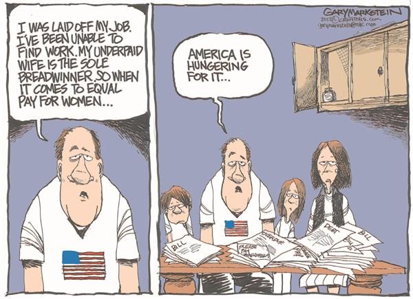 Equal Pay © Gary Markstein,The Milwakee Journal Sentinel,america,women,jobs,unemployment,hunger,bills,working,work